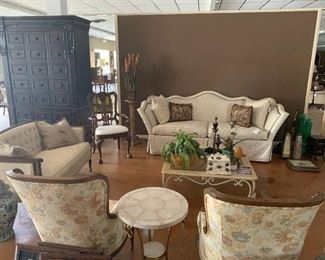 Living room furniture, round table in foreground is SOLD,  Century Sofa was $4994 now $1000