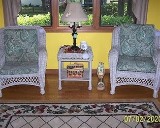 All weather wicker furniture, large area rug