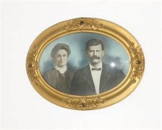 Antique bubble frame w/photo