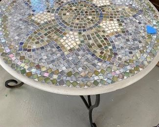 "Mosaic side or coffee table.  30 round x 18"" high.  Slashed.  $25"