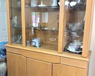 blonde china cabinet
