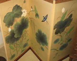 Vintage Hand Painted Wall Screen  ( 4 Panels)