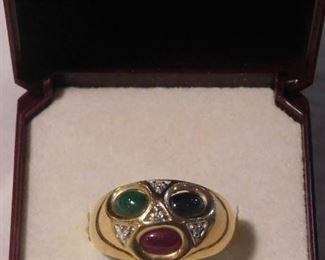 14 k Ruby - Sapphire - Jade Ring