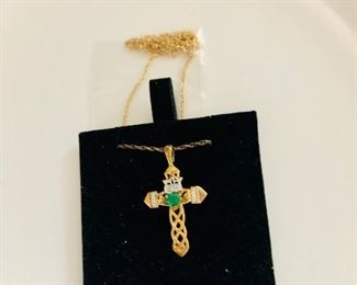 $40 Sterling cross with green stone on chain