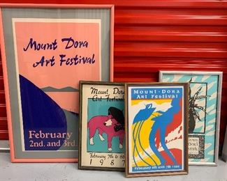 Lot 1, Four Framed Vintage Mount Dora Art Festival Posters, Great Condition, $95