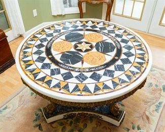 "PRICE $5,995 (Offers accepted) — Same table as Lot #1 — Rare stunning marble inlay mosaic grand hallway center entry foyer  table 44"" diameter x 32"" tall."