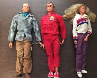 Six Million Dollar Man Action Figures/Dolls - Oscar Goldman, Steve Austin and Jaime Sommers/Bionic Woman