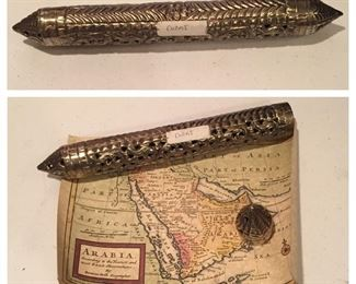 Map of Arabia by Herman Moll with Souvenir Tube from Dubai