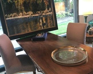Beautiful oil painting of a fly fisherman by artist C. Kaye mid-century desk and a pair of chairs.  Painting is $600.