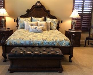 Thomasville King Master Bedroom , Tufted Nailhead Storage Bench 53 L x 21 H x 19 1/2 D, Pier I Marchella Chair, Table Lamps