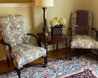 Pair of side chairs, nice occasional table, tall table lamp.