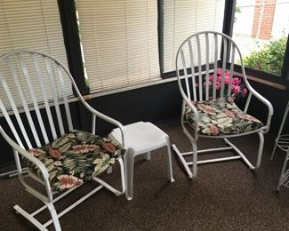. . . these two wrought-iron rockers are fantastically comfortable