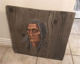 American Indian hi relieve decorative art wall hanging $65