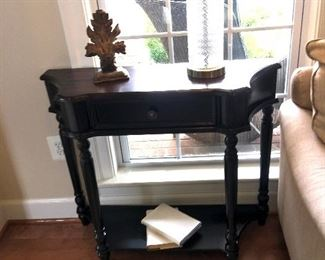 $225/ea. One of two matching black wood end tables/small hallway/entrance table(s)