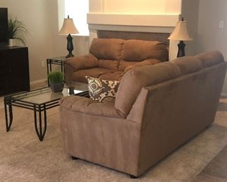Matching Sofa and Loveseat in Sofa Microfiber, Coffee Table and Matching End Tables, Media Center, Table Lamps and more...