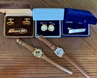 Mickey Mouse Watches, Japanese with Boxes, Vintage Bone Cuff Links