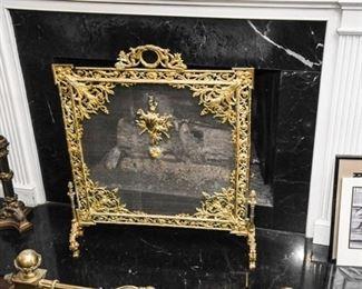 9. Finely Cast Louie XV Gilt Bronze Fire Screen