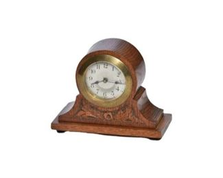 10. Miniature German Carved Oak Mantle Clock