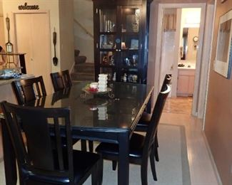 DINING TABLE AND CHAIRS MATCHING CURIO CABINET