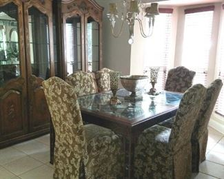 Dining Room Table Chinese Style with glass top and Wide Leaf, Pair of Display Cabinets !!!!!!!!2 DINING ROOM CHAIRS SOLD. SET OF 4 AVAILABLE