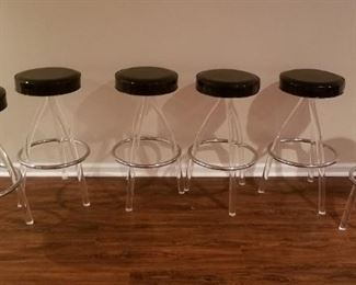 Vintage set of bar stools with Lucite legs