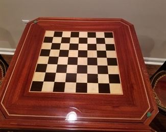 Games Table with checkers/ chess board and roulette wheel underneath