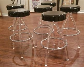 Set of Bar Stools with Lucite Legs Vintage
