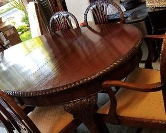 Dining table and six chairs from England