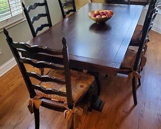 """Dining Room Extension Table with 8 chairs and pads.  Table is 40"""" x 78"""", plus two 14"""" extensions."""