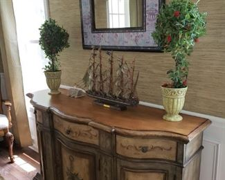 Hand painted side board/ cabinet