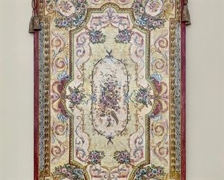 """Item 67:  Wooden tapestry - 45"""" x 73"""" (add several inches for fleur dis lis): $400"""