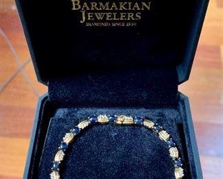 "Item 85:  14K Diamond and cabochon sapphire bracelet - 7.5"":  $750"