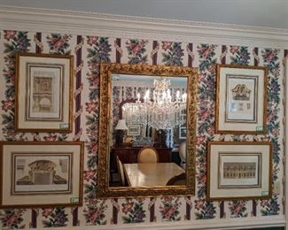 Set/4 nicely framed/matted French architectural prints and large gold gilt wooden wall mirror.