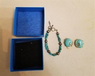 turquoise clip on earring and bracelet set