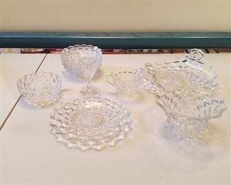 assorted American Fostoria glassware