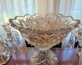 LARGE Vintage Pressed Glass Punch Bowl on Pedestal with 10 cups
