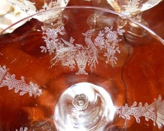 "Crystal stemware & Plates by Tiffin ""Persian Pheasant"""