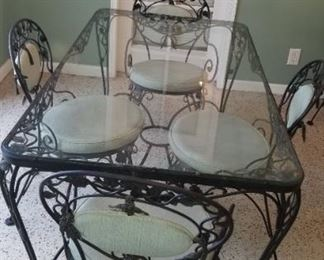 Dining Room Table, Chairs, plus smaller Bistro Table and chairs