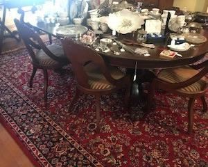 Banquet table - Mahogany with three leaves - seats about 12 - maybe more if everyone's on a diet - circa 1840 - great condition - wool rug - big, really big...