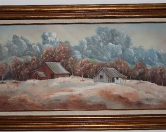 "Original Oil on Canvas by Edna Chrestman Old Homestead Landscape (36 3/4 x 21 3/4"")"