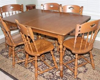 """S. Bent Bro's Colonial Maple Side Chairs (set 5 side chairs & 1 arm chair)and Formica Top Table (47"""" x 36"""") with  5 1/2"""" Leaf.  Samarkand Brown Pattern Area Rug (7'10"""" x 5'3"""")"""
