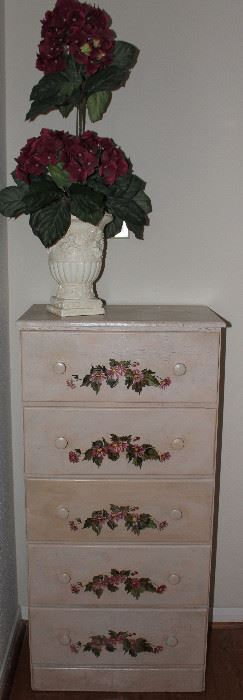 """Vintage White 5-Drawer Floral  Hand Painted Lingerie Chest (34.5""""H x 21""""W x 12"""").  Silk Hydrangea Topiary Tree in White Urn Planter"""