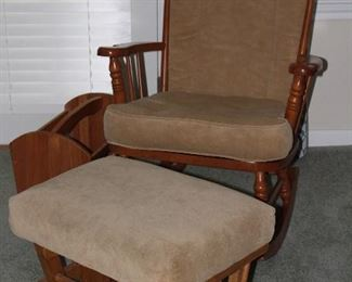 Rocker with Beige Upholstered Removable Cushions and a Matching GliderRocker Footstool