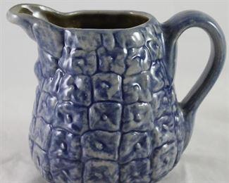 Beaumont Bro's. Pottery Pineapple Blue Glaze Pitcher