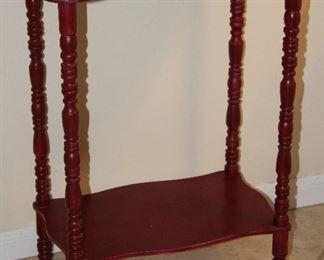 "Depression Era Spool Turn Legs Red Paint Side Table   (24""H x 17.5""W x 11.5""D)"