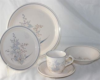 """NorItake """"Kilkee"""" 5 Piece Place Setting for 8:  Dinner Plates, Salad Plates, Dessert Bowls, Cups and Saucers with 2 extra Cups and Saucers"""