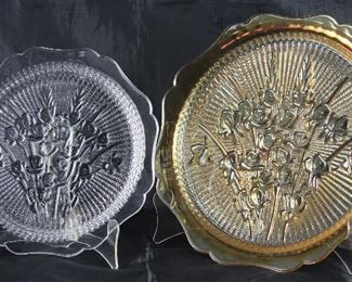 Jeanette Glass Company Iris and Herring Bone:  Clear Glass Dinner Plate and IridescentSandwich/Cake Plate