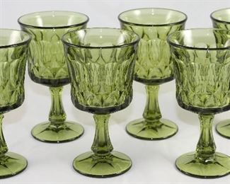 Vintage 1960-70's Avocado Green Glass Goblets: 6 Wine & 12 Water