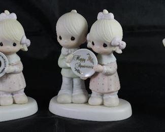 """Precious Moments: E-2860 50th Anniversary, E-2853 Happy Anniversary and E-5637 """"Heavenly Light"""" Figurines"""