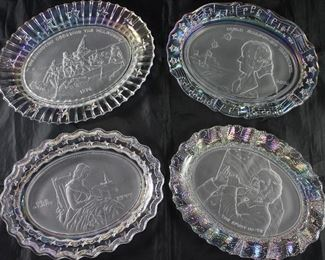 """Fostoria """"American Milestones"""" Platters C.1976:  """"Washington Crossing the Delaware""""(1776), """"Star Spangled Banner"""" (1814), Old Glory"""" (1777) and """"The Spirit of 76""""(1776)"""